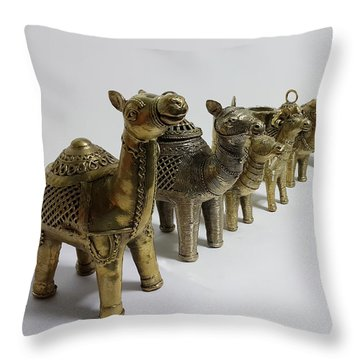 Group Of Camels Throw Pillow