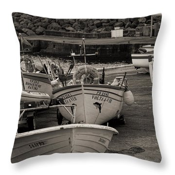 Groups Of Fishing Boats With Life Preservers Docked  Throw Pillow