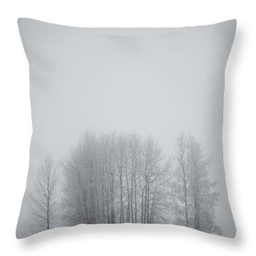 Grove Of Trees Covered In Hoar Frost On Throw Pillow by Roberta Murray