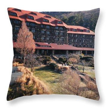 Grove Park Inn In Early Winter Throw Pillow