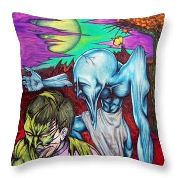Throw Pillow featuring the drawing Growing Evils by Michael  TMAD Finney