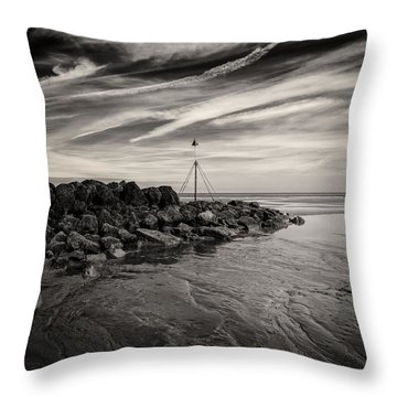 Groyne Marker Throw Pillow by Dave Bowman