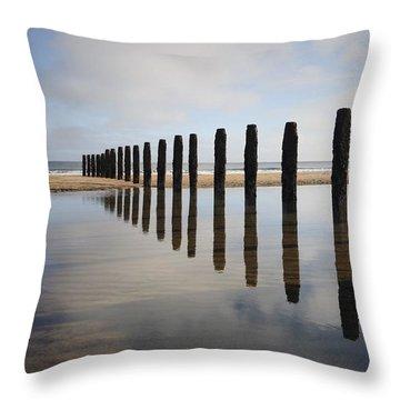 Groynes Blyth Northumberland Throw Pillow by Christine Giles