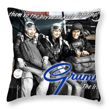 Grumman Test Pilots Throw Pillow