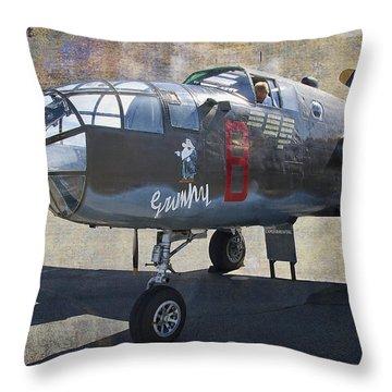 Grumpy  B-25 D Mitchell Bomber  /  43-3318 Throw Pillow by Daniel Hagerman