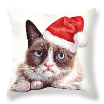 Grumpy Cat As Santa Throw Pillow