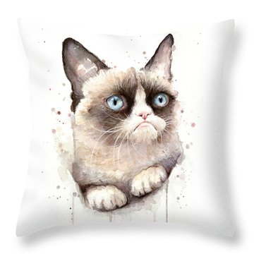 Grumpy Cat Watercolor Throw Pillow by Olga Shvartsur