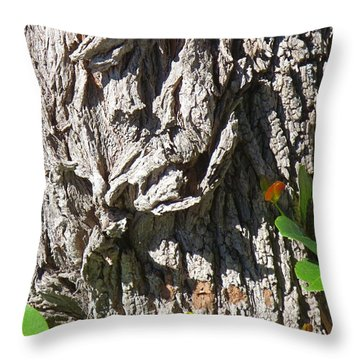 Grumpy Face In The Tree Trunk Bark. Throw Pillow