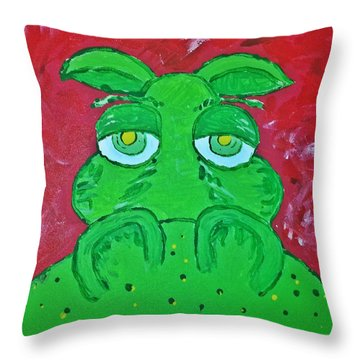 Grumpy Green Hippo Throw Pillow