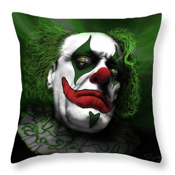Grumpy Green Meanie Throw Pillow by Jeremy Martinson