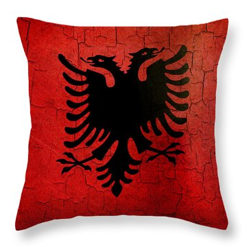 Grunge Albania Flag Throw Pillow