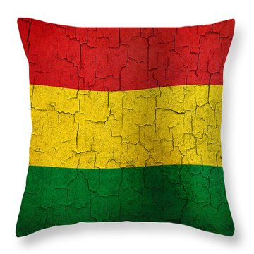 Grunge Bolivia Flag Throw Pillow