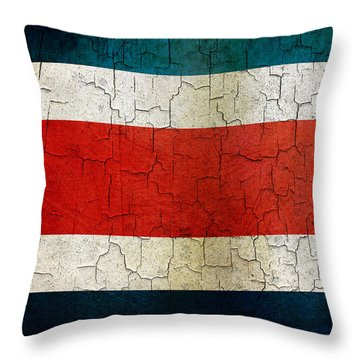 Grunge Costa Rica Flag Throw Pillow