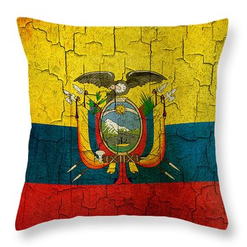 Grunge Ecuador Flag Throw Pillow