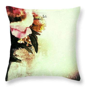 Grunge Flowers Throw Pillow