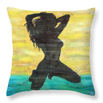 Grunge Girl Female Silhouette Pop Art Throw Pillow