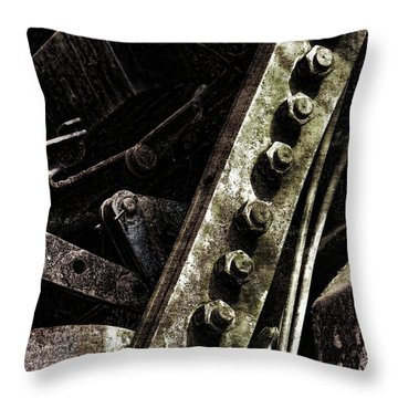 Grunge Industrial Machinery Throw Pillow by Olivier Le Queinec