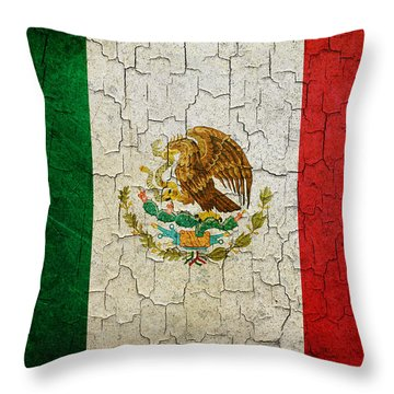 Grunge Mexico Flag Throw Pillow