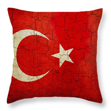 Grunge Turkey Flag Throw Pillow