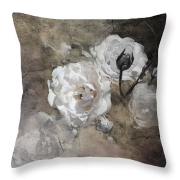 Grunge White Rose Throw Pillow