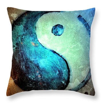 Grunge Yin Yang Water Is Precious Throw Pillow by Danielle  Parent