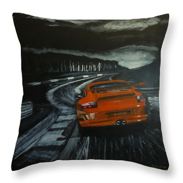 Throw Pillow featuring the painting Gt3 @ Le Mans #2 by Richard Le Page