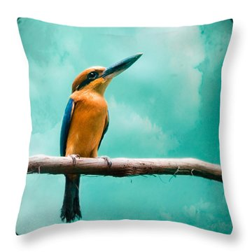 Guam Kingfisher - Exotic Birds Throw Pillow
