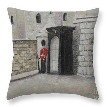 Guard At Windsor Castle Throw Pillow