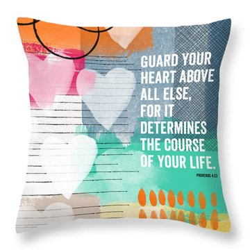 Guard Your Heart- Contemporary Scripture Art Throw Pillow by Linda Woods