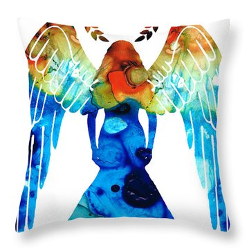 Guardian Angel - Spiritual Art Painting Throw Pillow by Sharon Cummings