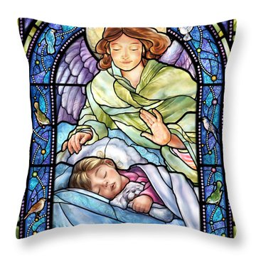 Guardian Angel With Sleeping Girl Throw Pillow