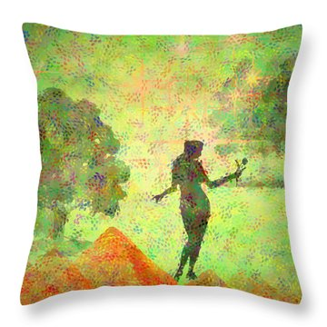Guardian Of The Oasis Throw Pillow by Joyce Dickens