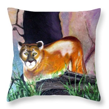 Guarding The Cave Throw Pillow