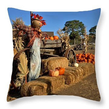 Throw Pillow featuring the photograph Guarding The Pumpkin Patch by Michael Gordon