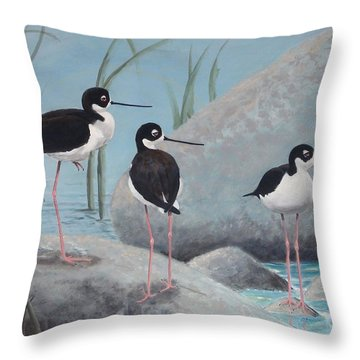 Throw Pillow featuring the painting Guarding The Shore by Dan Redmon