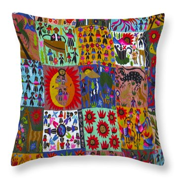 Guatemala Folk Art Quilt Throw Pillow