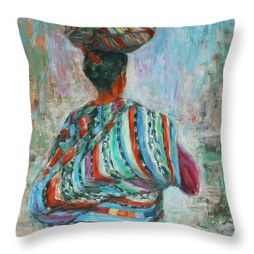 Throw Pillow featuring the painting Guatemala Impression I by Xueling Zou