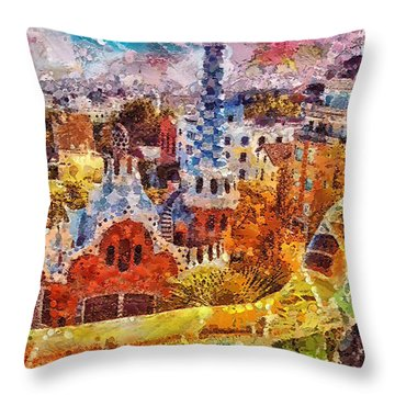 Guell Park Throw Pillow by Mo T