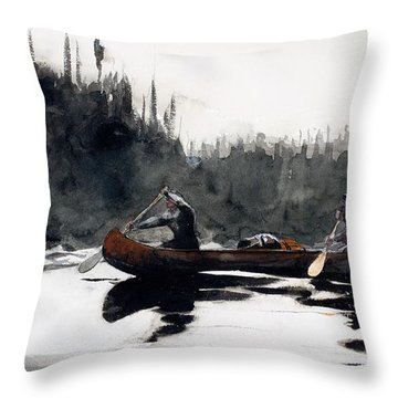 Guides Shooting Rapids Throw Pillow by Winslow Homer