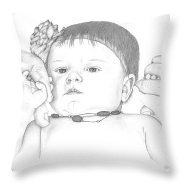 Throw Pillow featuring the drawing Guiding Hands by Patricia Hiltz