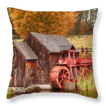 Throw Pillow featuring the photograph Guildhall Grist Mill by Jeff Folger
