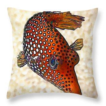 Guinea Fowl Puffer Fish Throw Pillow
