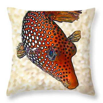 Guinea Fowl Puffer Fish Throw Pillow
