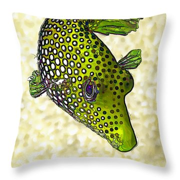 Guinea Fowl Puffer Fish In Green Throw Pillow
