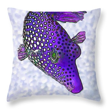 Guinea Fowl Puffer Fish In Purple Throw Pillow
