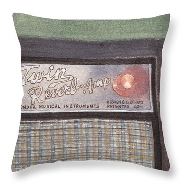 Guitar Amp Sketch Throw Pillow by Ken Powers