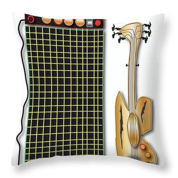 Throw Pillow featuring the digital art Guitar And Amp by Marvin Blaine