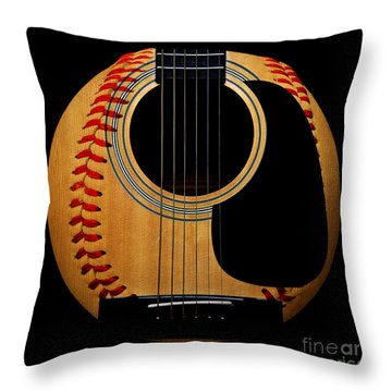Guitar Baseball Square Throw Pillow