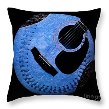 Guitar Blueberry Baseball Square Throw Pillow by Andee Design