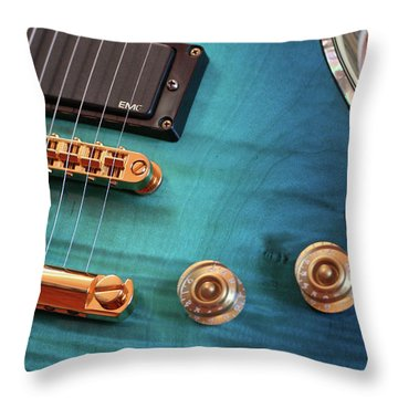 Guitar Blues Throw Pillow